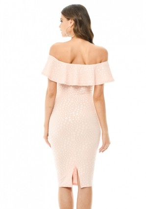 Women's Pink Off The Shoulder Frill Bodycon Midi Dress