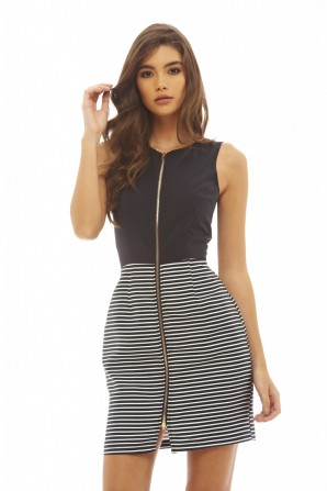 Women's 2 In 1 Striped Zip Front  Navy Dress