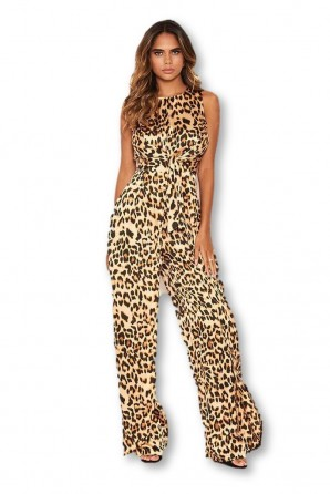 Women's Leopard Print Jumpsuit With Knot Front Detail