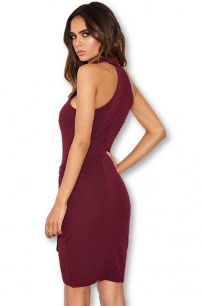 Women's Plum Choker Neck Ruched Detail Bodycon Dress