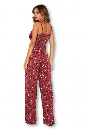 Women's Animal Print V Neck Jumpsuit