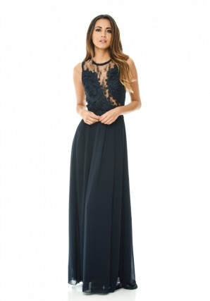 Women's Navy Crochet Top Maxi Dess