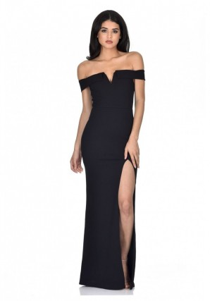 Women's Black Off The Shoulder Maxi Dress