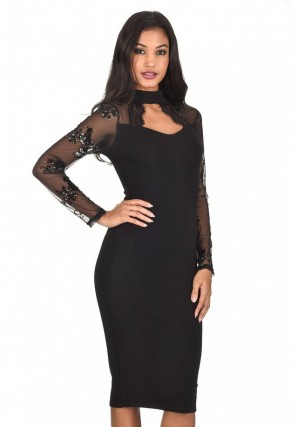 Women's Black Sequin Sleeved Dress