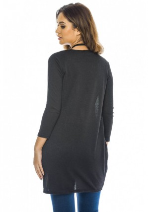 Women's Wrapped Front Knitted Black Top