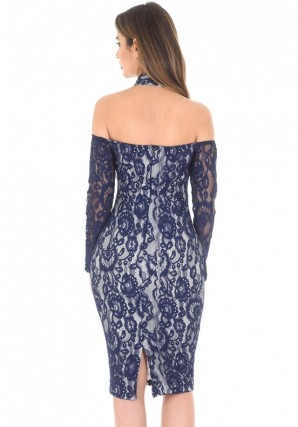 Women's Navy Long Sleeved Bardot Midi Dress
