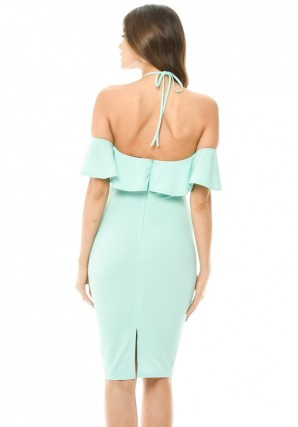 Women's Green Tie Neck Frill Midi Dress