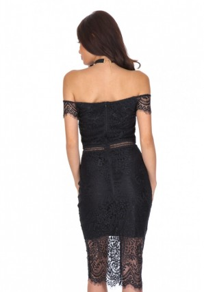 Women's Black Lace Off The Shoulder Dress
