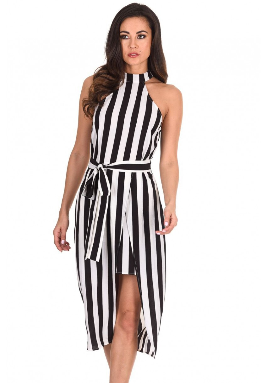 78763fb06d1b Black White Chiffon Stripe Sleeveless Maxi Casual Dress 016163. See 3 More  Pictures 7682 Black. Women S Black And White High Neck Striped Dress Ax  Paris Usa
