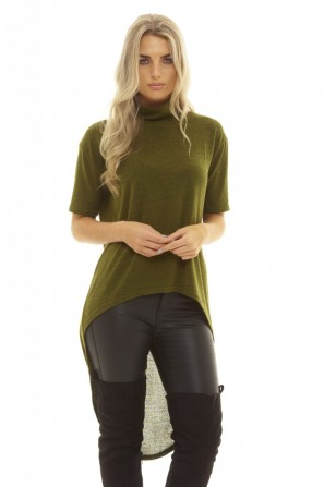 Women's Knitted Dipped Hem Khaki Top