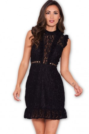 Women's Black Lace Frill Detail Dress