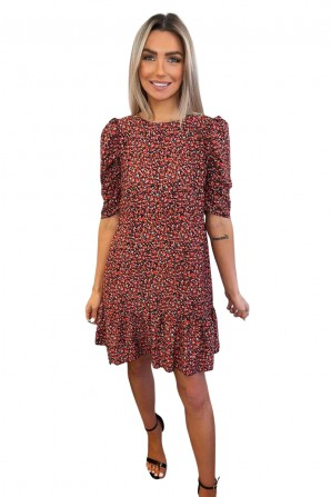 Women's Red Ditsy Floral Puff Sleeve Smock Dress