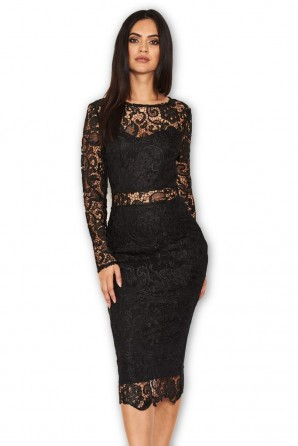 Women's Black Lace Front Midi Dress