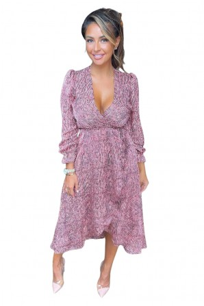 Women's Red Printed Tie Side Wrap Over Midi Dress
