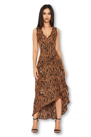 Women's Camel Animal Print Midi Dress