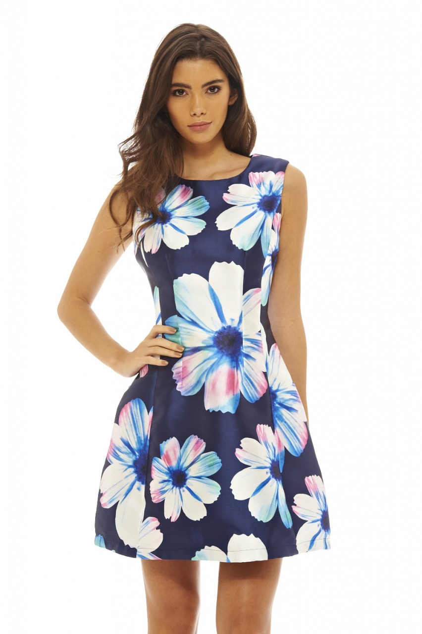 7ee4aa6668 ... buy popular Womens Bold Floral Skater Navy Floral Dress - AX Paris  USA-F eba18 ...