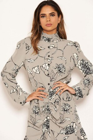 Women's Grey Floral Ruched Shirt Dress