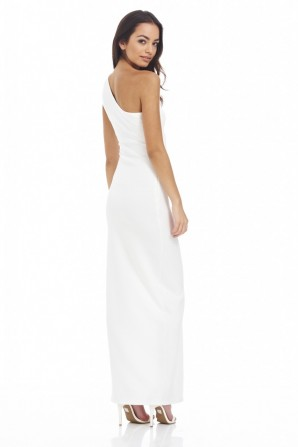 Women's Asymetric Maxi  Cream Dress