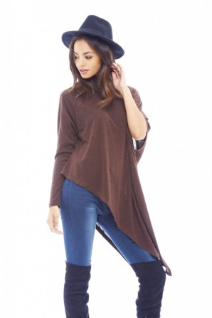 Women's Asymmetric Knitted Chocolate Sweater