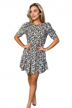Women's Black Floral Print Smock Dress