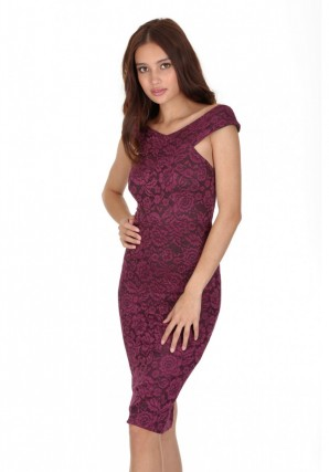 Women's Plum Cross Off The Shoulder Lace Midi Dress