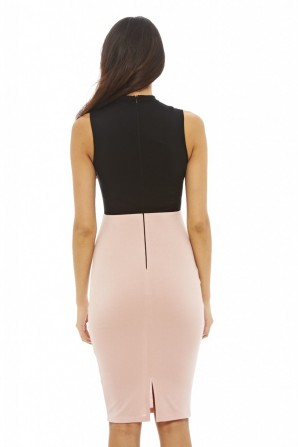 Women's 2 in 1 Bodycon Midi Black Pink Dress