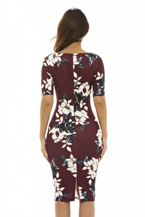 Women's 3/4 Sleeve Floral  Burgundy Bodycon