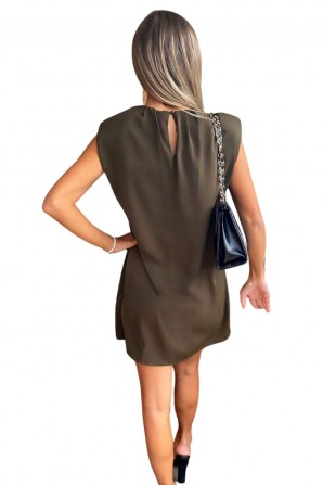 Women's Shoulder Padded Green Shift Dress