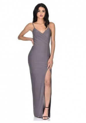Women's pewter slinky maxi dress