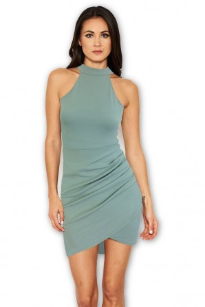 Women's Duck Egg Bodycon High Neck Ruched Dress
