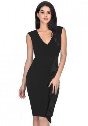 Women's Black V-Neck Front frill Bodycon Dress