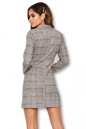 Grey Check Gold Button Blazer Dress
