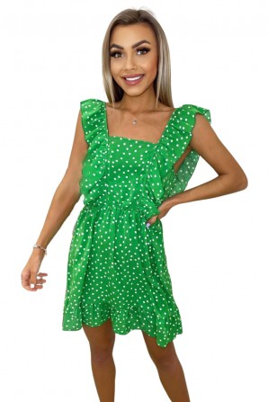 Women's Green Polka Dot Square Neck Frill Dress