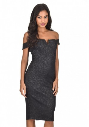 Women's Black Off the Shoulder Sparkle Detail Bodycon Dress