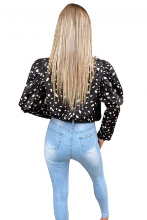 Women's Black Spotty Puffed Out Sleeve Blouse