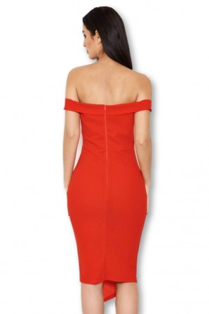 Women's Red Button Front Bardot Dress