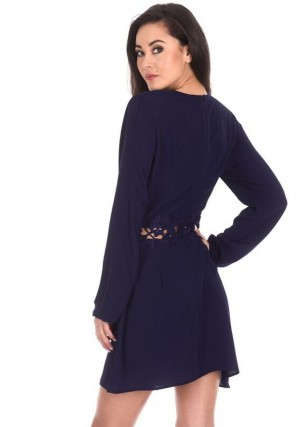 Women's Navy Crochet Waist Long Sleeved Dress