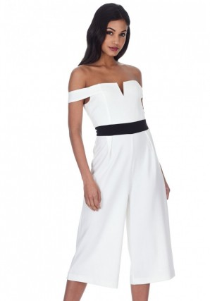 Women's Cream Culotte Jumpsuit