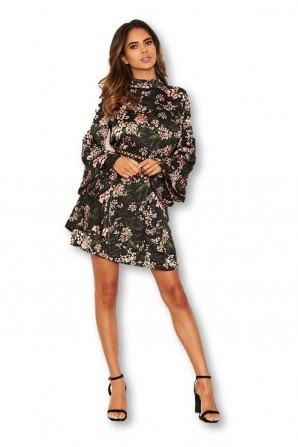 Women's Black Floral Frill Skirt Dress