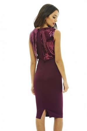 Women's Sequin Over Lay Bodycon Purple Dress