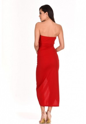 Women's Red Bardot Frill Detail Midi Dress