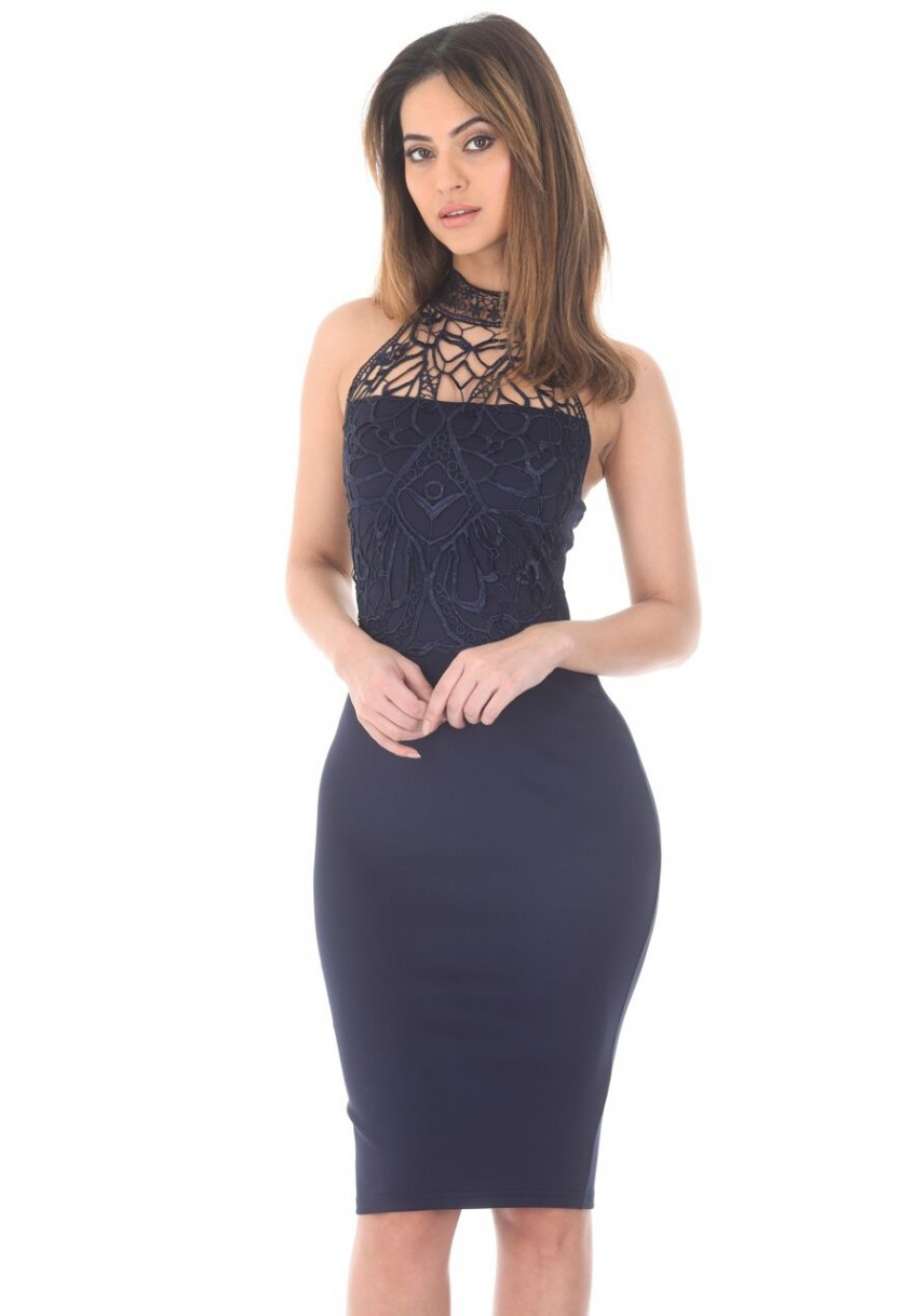 e2f6bdf9954ac Women s Navy Crochet Top Bodycon Midi Dress - AX Paris USA-Fashion ...
