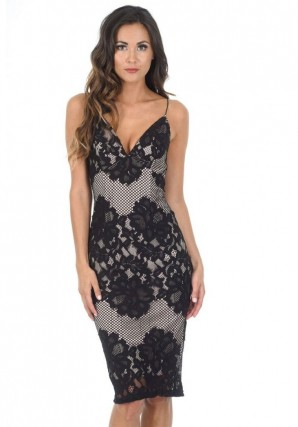 Women's Black And Nude Lace Midi Dress