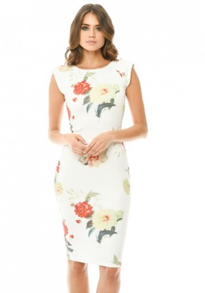 Women's Capped Sleeve Cream Floral Midi Dress