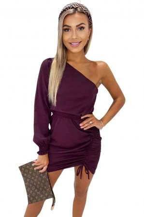 Women's Plum One Shoulder Dress With Side Ruched Tie Detail
