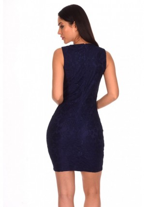 Women's Navy Lace Eyelet Detailed Dress
