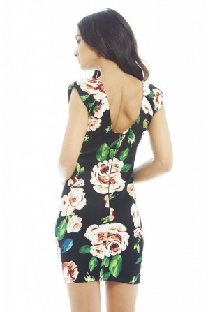 Women's Colouful Floral Printed Bodycon Black Dress