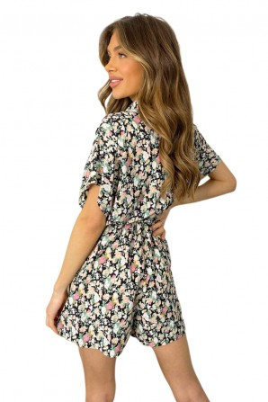 Women's Black Floral Print Button Up Romper