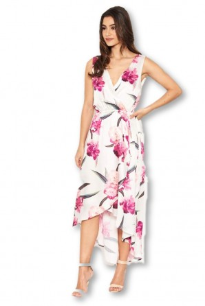 Women's Cream Floral V Neck Dress