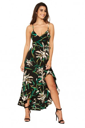 Women's  Black Floral Frill Hem Dress with Tie Waist
